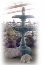 2 Tier Plain Fountain with Hexagonal Bowls